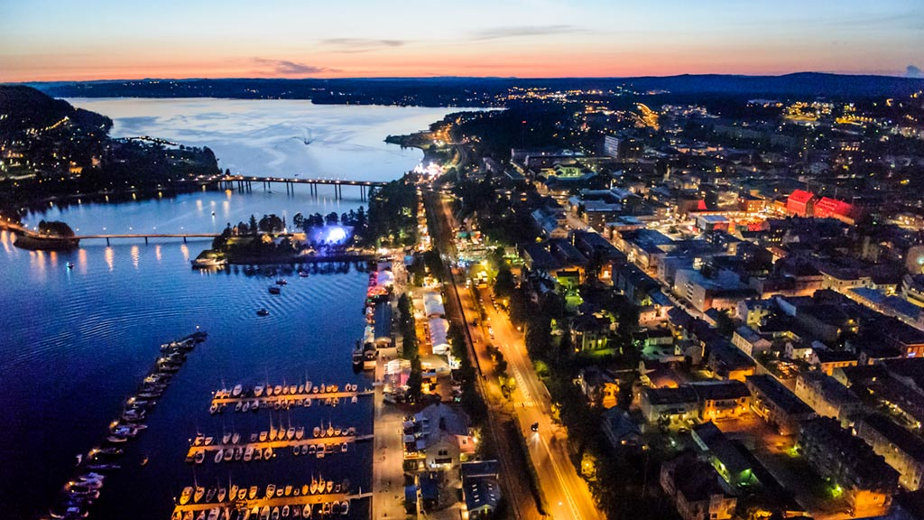 Aerial photo in the evening over Östersund