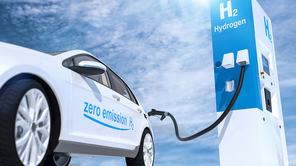 Car fueling up on hydrogen gas